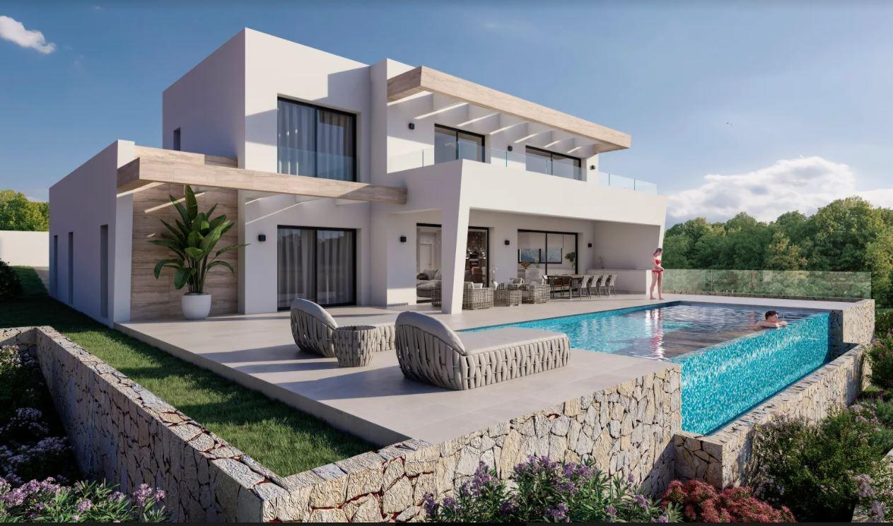 Luxe villa in aanbouw te koop in Moraira met uitzicht op zee.